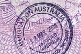 Australian immigration departure passport stamp