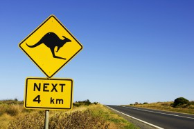 Australia, Victoria, Great Ocean Road, kangaroo road sign