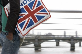 Woman carrying Union Jack bag