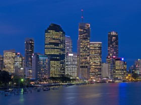 Long exposure shot of Brisbane city at night
