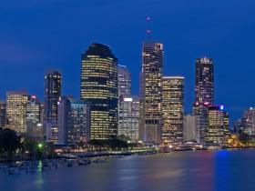 Long exposure shot of Brisbane city at night
