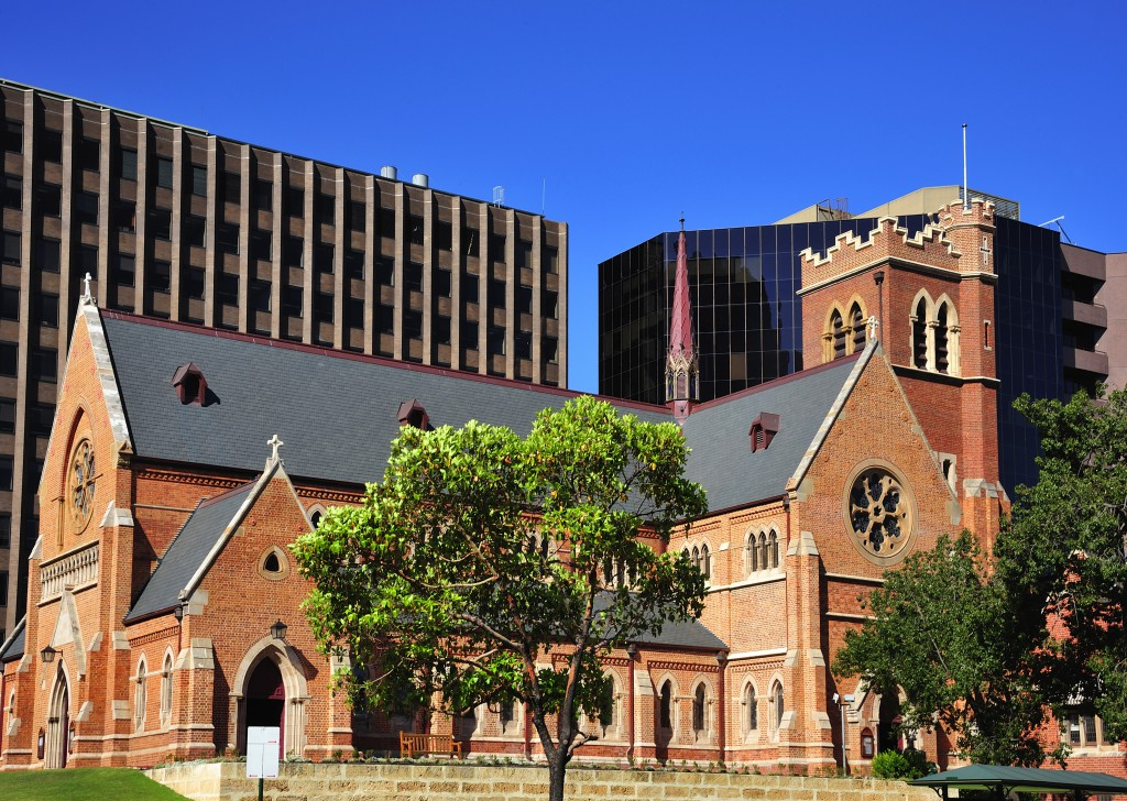In Australia in the city of Perth View of Georges Cathedral an old building in the street of the same name
